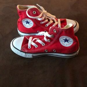 Youth red Converse shoes